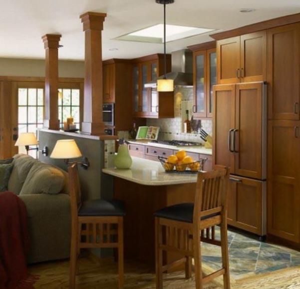 Барная стойка в интерьере кухни фото