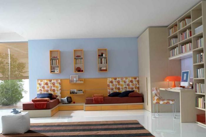 Зонирование в детской спальне для двух детей