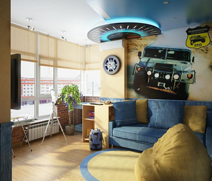 Дизайн потолка в комнате мальчика