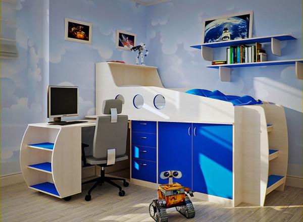 Детская кровать с встроенным шкафом - 4