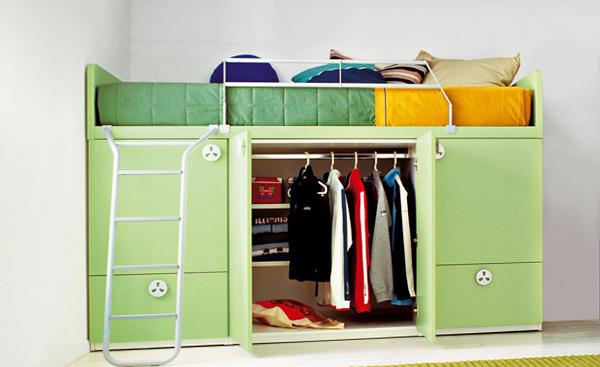 Детская кровать с встроенным шкафом - 8