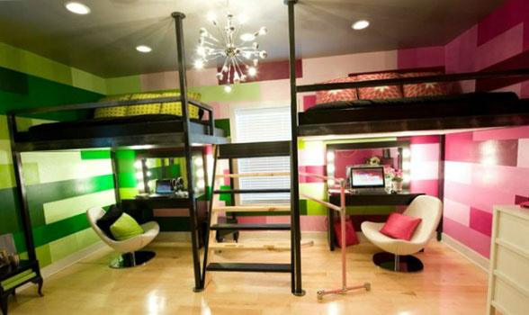 Зонирование комнаты при помощи разных цветовых схем 17