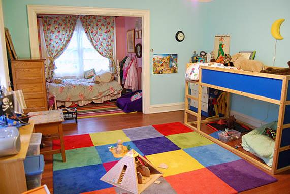Зонирование комнаты при помощи разных цветовых схем 2