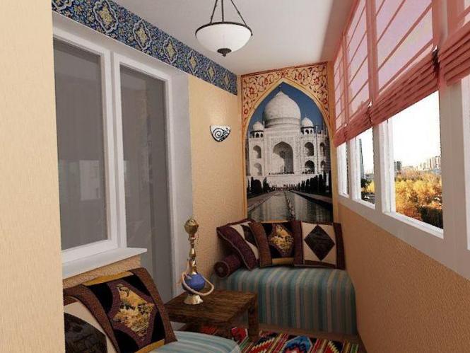 Кальян в интерьере балкона