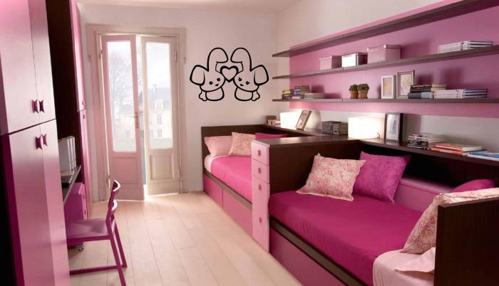 Как сделать интерьер комнаты для двух девочек 3