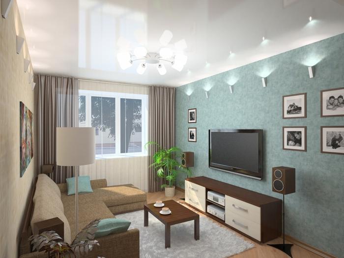 Дизайн гостиной 16 кв. м