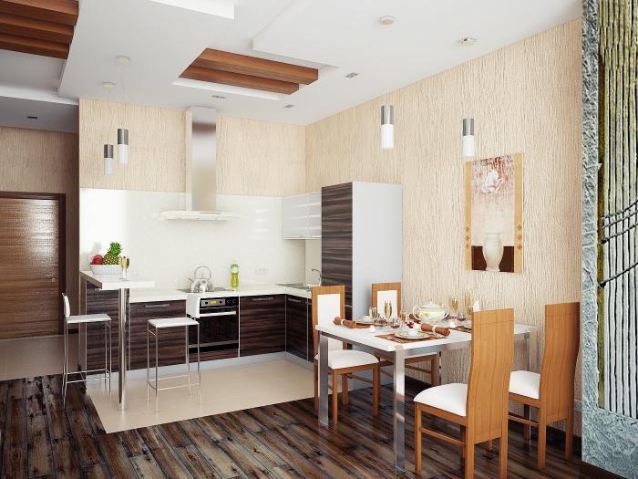 Дизайн кухни-гостиной 52