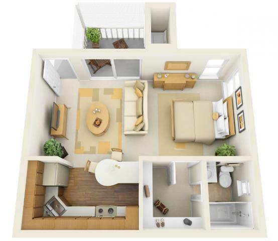 Дизайн кухни-гостиной - 15