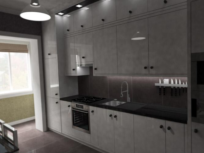 Планировка кухни совмещенной с балконом