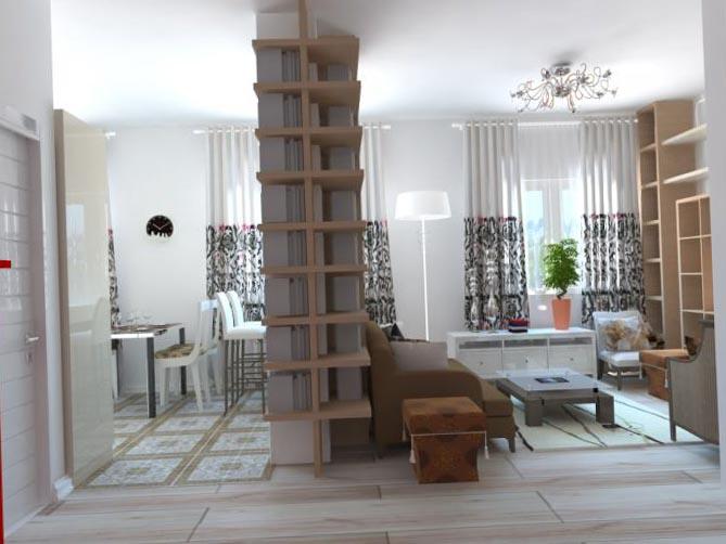 Фото дизайна квартиры-студии в стиле фьюжн