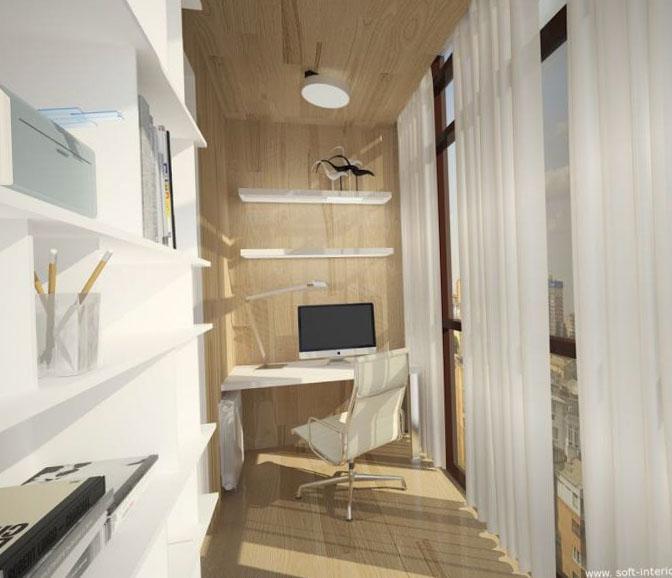 Дизайн лоджии кабинет 03