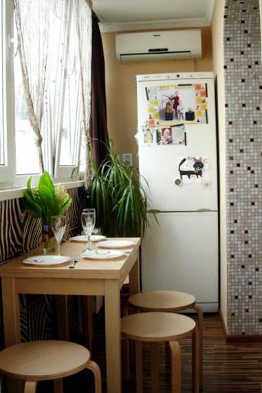 Дизайн лоджии кухня 03