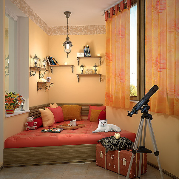 Дизайн лоджии спальня 03