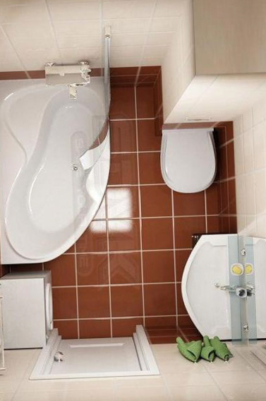 Проект маленькой ванной совмещенной с туалетом