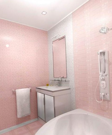 Точечные светильники в розовом интерьере