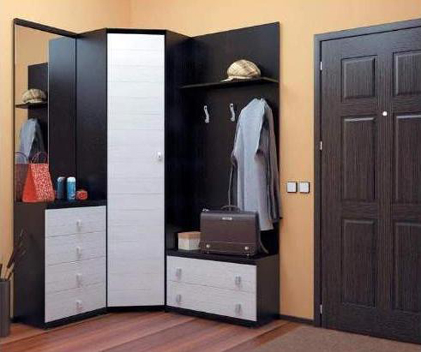 Дизайн углового шкафа в коридор 110