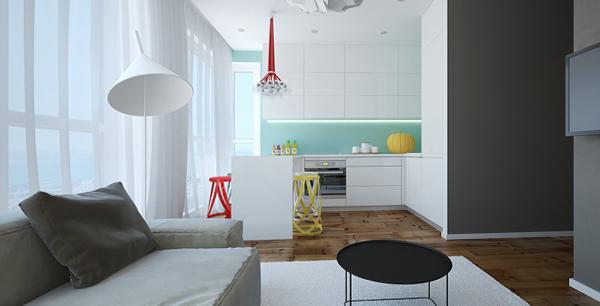 Шторы для гостиной-кухни - 07