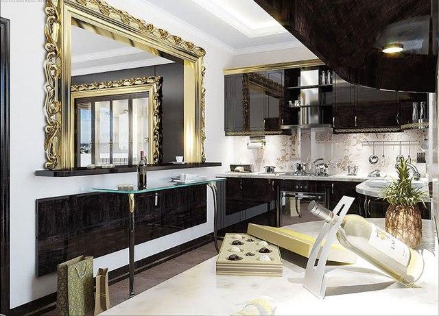 Угловая кухня в стиле арт-деко