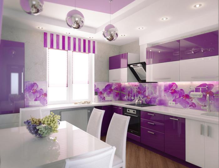 Угловая кухня цвета баклажан