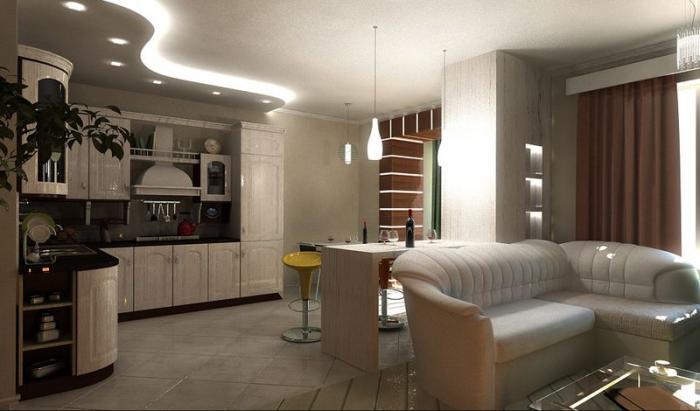 Угловая кухня на кухне-гостиной