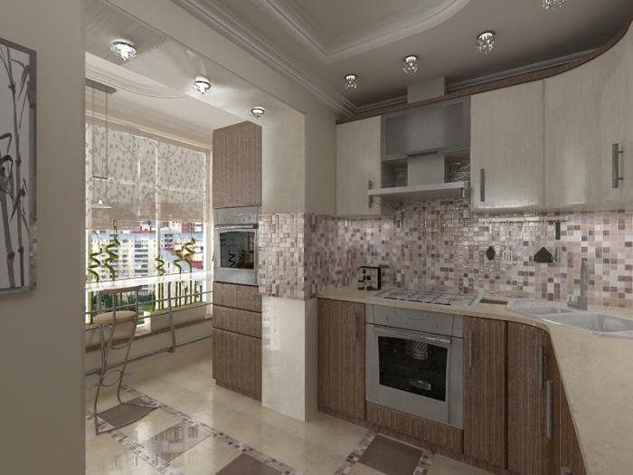 Угловая кухня с балконом
