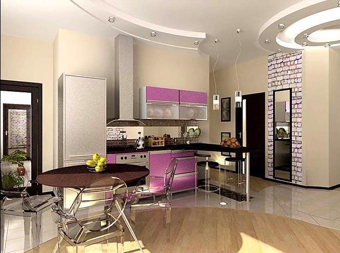 Дизайн потолка на угловой кухне