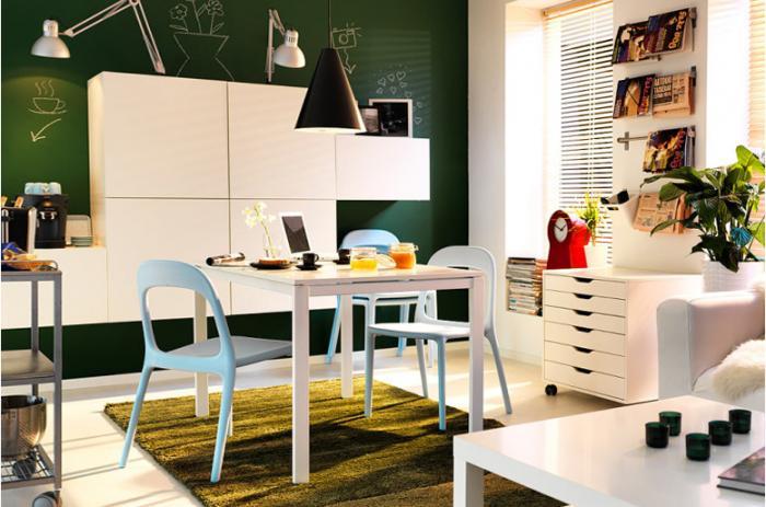 Примеры <u>прямоугольной</u> оформления комнаты с помощью мебели от Икеа 1