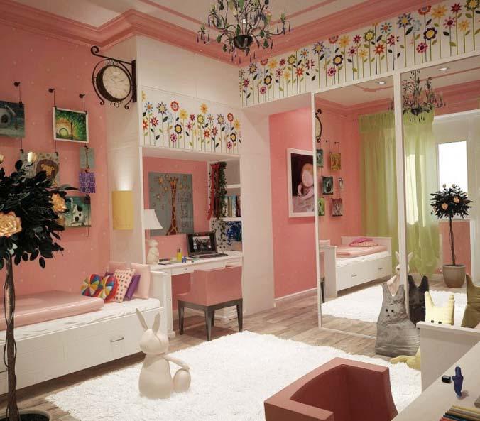 Розовая комната для девочки 10 лет
