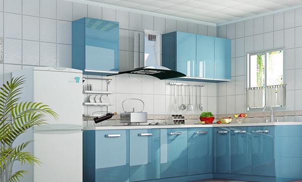Мебель для кухни в голубых тонах-3