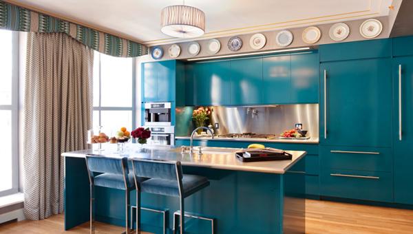 Мебель для кухни в голубых тонах- 4