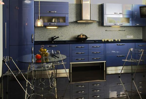 Мебель для кухни в голубых тонах- 5