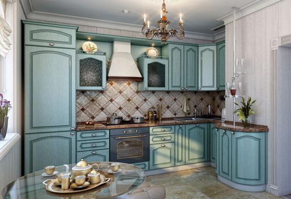 Мебель для кухни в голубых тонах - 8
