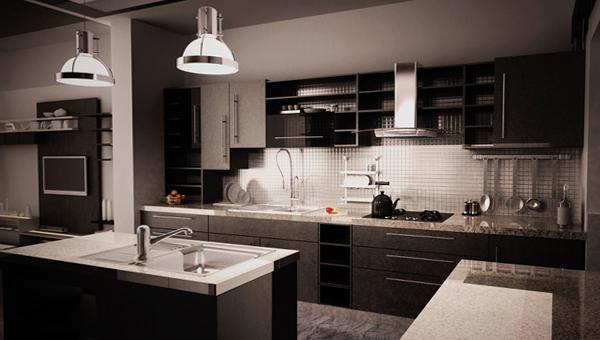 Мебель для кухни в темных тонах-2