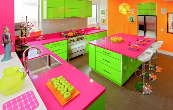Мебель для кухни в ярких тонах-2