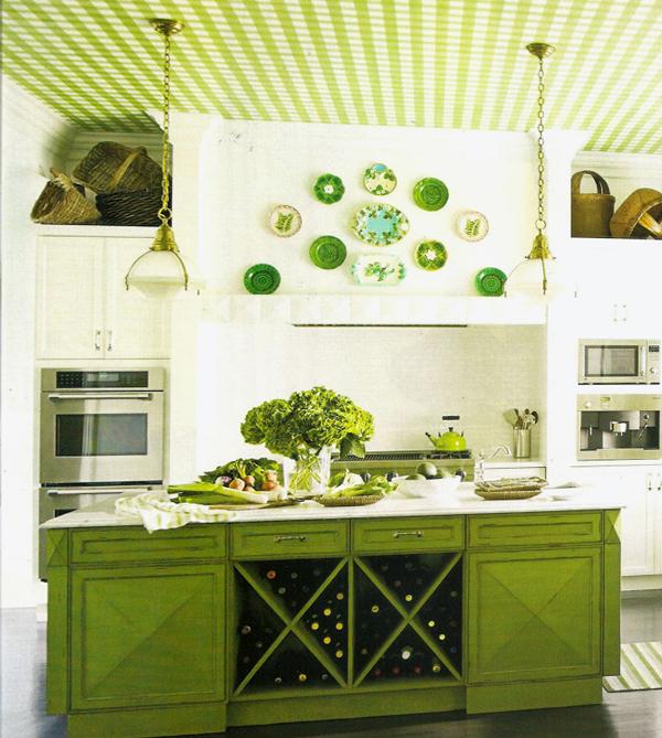 Мебель для кухни в зеленых тонах-2