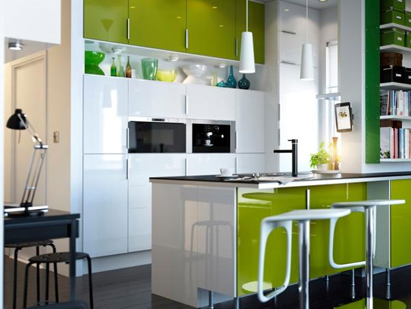 Мебель для кухни в зеленых тонах-3