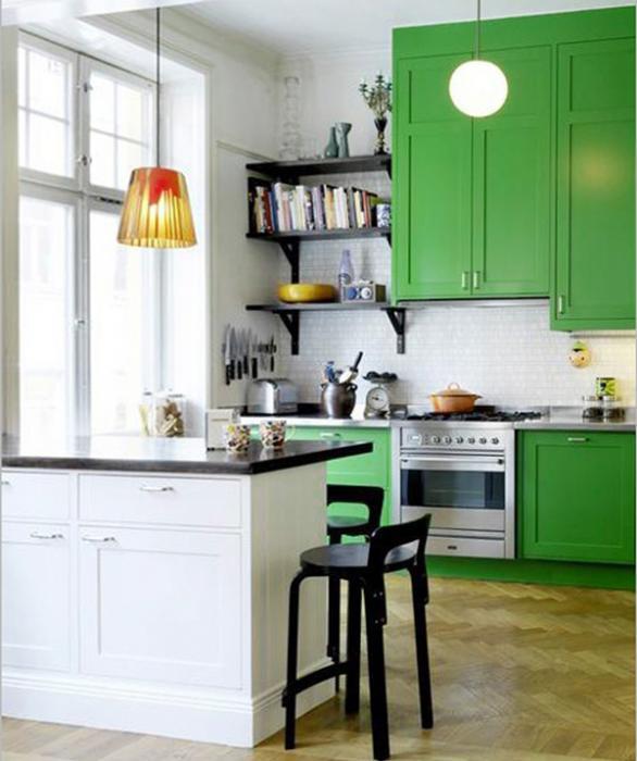Мебель для кухни в зеленых тонах- 5