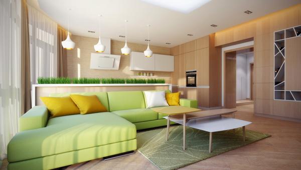 Гостиная в современном стиле (мебель экостиль) – 1