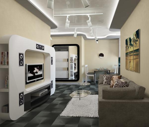 Гостиная в современном стиле (мебель хай-тек) – 1