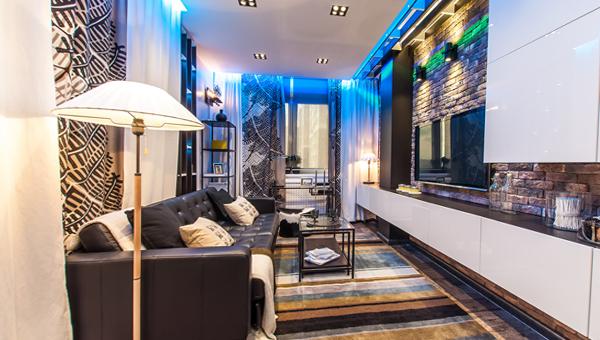 Гостиная в современном стиле (мебель лофт) – 1