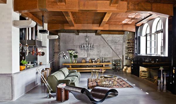 Гостиная в современном стиле (мебель лофт) – 2