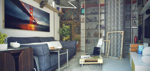 Гостиная в современном стиле (мебель лофт) – 4