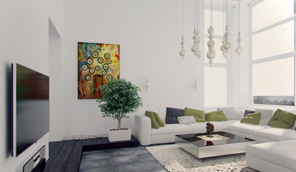 Гостиная в современном стиле (мебель минимализм) – 1