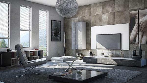 Гостиная в современном стиле (мебель минимализм) – 4