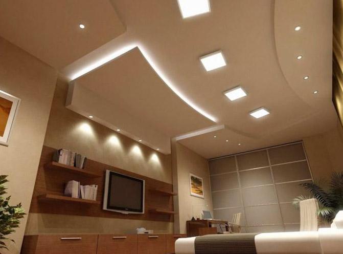 Натяжные потолки для зала в дизайне 153