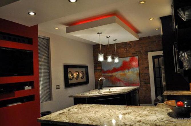 Натяжные потолки на кухне 3