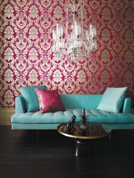 Фото текстильных обоев в спальню