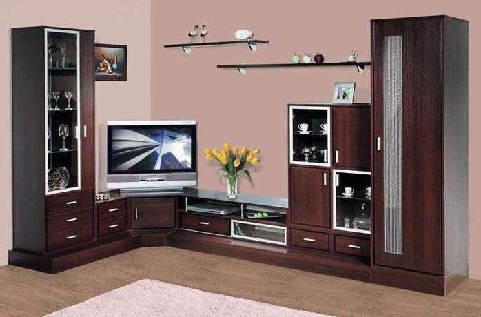 Фото обоев для зала с темной мебелью