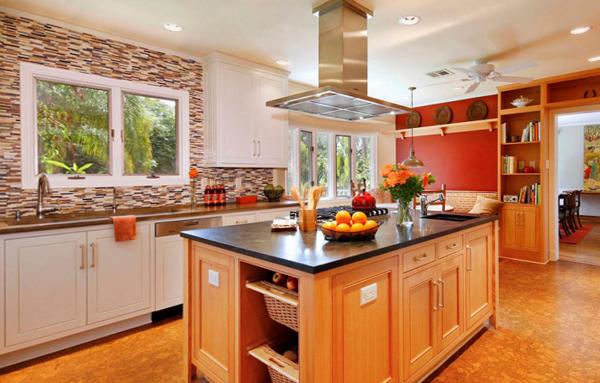 Плитка в интерьере кухни (комбинирование) - 2