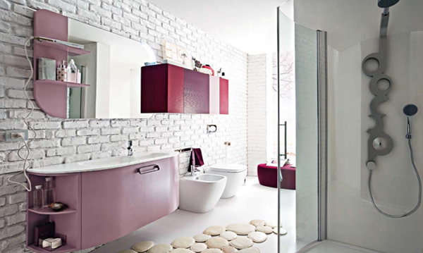 Декорирование стенв ванной комнате плиткой - 5